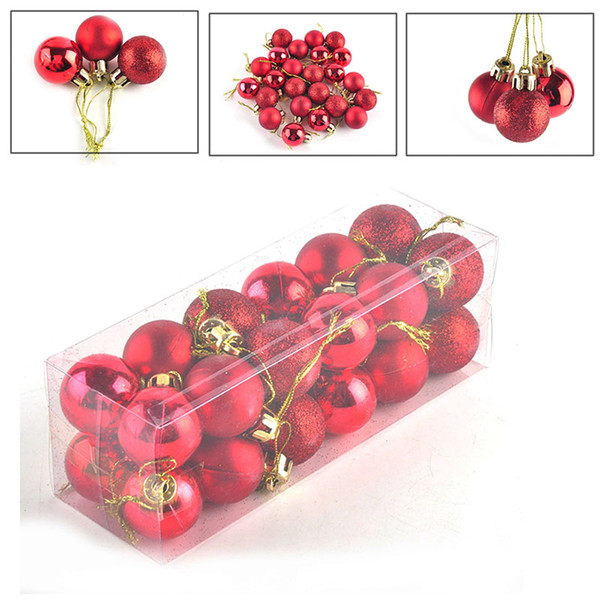 24pcs/ lot Christmas Tree Decor Ball Bauble Hanging Xmas Party Ornament Decorations for Home Party Festival Suppllies 0708041