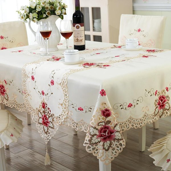Hot sales Europe Polyester Tablecloth Embroidered Floral Hollow Table Cover Rectangular Elegant Home Party Wedding Decoration