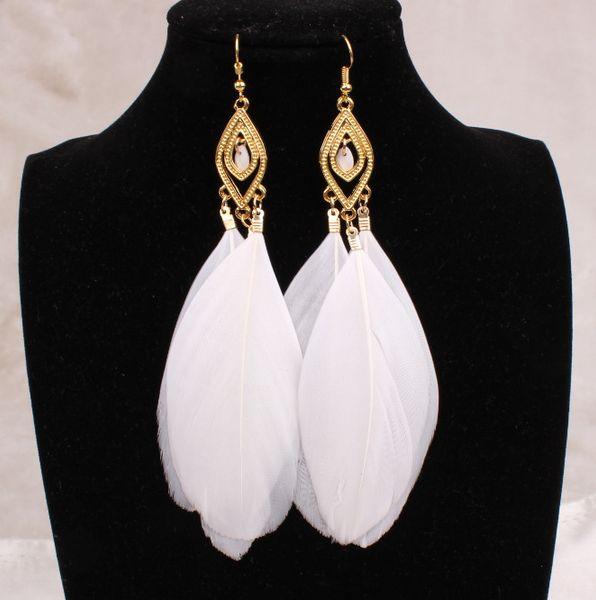 Orecchini lunghi con piume Orecchini grandi con cristalli neri Gioielli bianchi blu per le donne Orecchini vintage con nappe 18 carati placcato oro