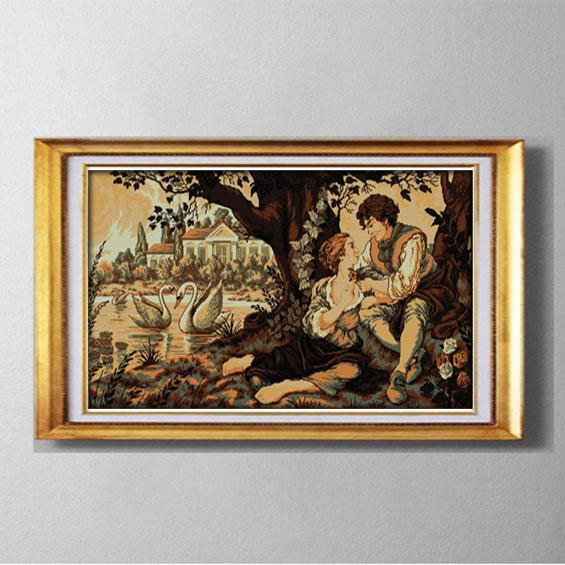 The Swan lake and the lovers , Handmade Cross Stitch needlework embroidery Sets counted printed on canvas DMC 11CT /14CT kits,