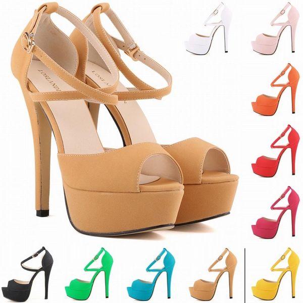 Sapato Femin Heiße Neue Offene spitze Strappy Plattform Faux Wildleder Dünne High Heels Sandalen Schuhe Sapatos Femininos14CM UNS GRÖßE 4-11 D0101