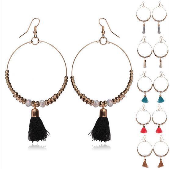 Women Hoop Earrings Big Ball Pompom Tassel Pendant Earrings Girls Beads Earrings 6 Colors Simple Fashion Jewelry Free Shipping