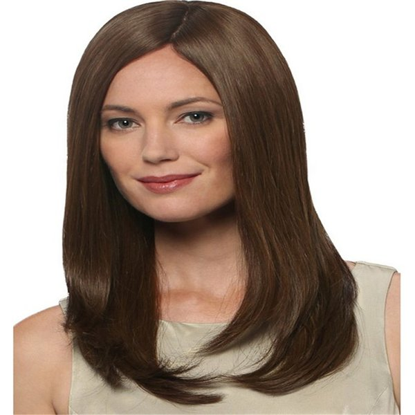 Full Lace Wigs light brown hair Full Lace Human Hair Wig Senior silk Long Wavy Brazilian Virgin Hair 100% With Bangs For women Color M4/30#