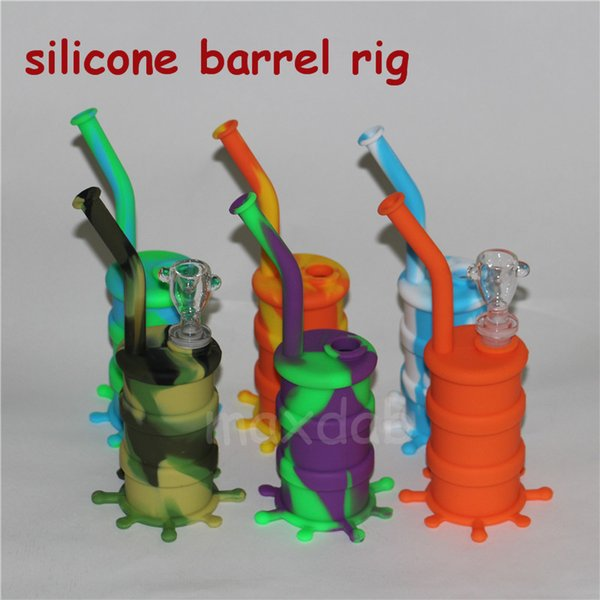 Cheap newest silicone Water Pipes silicone bongs glass water pipe oil rig good quality free shipping