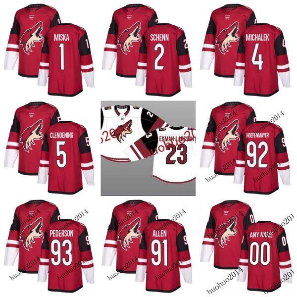 Arizona Coyotes 2017-2018 Season Jerseys 91 Scott Allen 92 Noel Hoefenmayer 93 Lane Pederson 1 Hunter Miska 2 Luke Schenn Hockey Jerseys