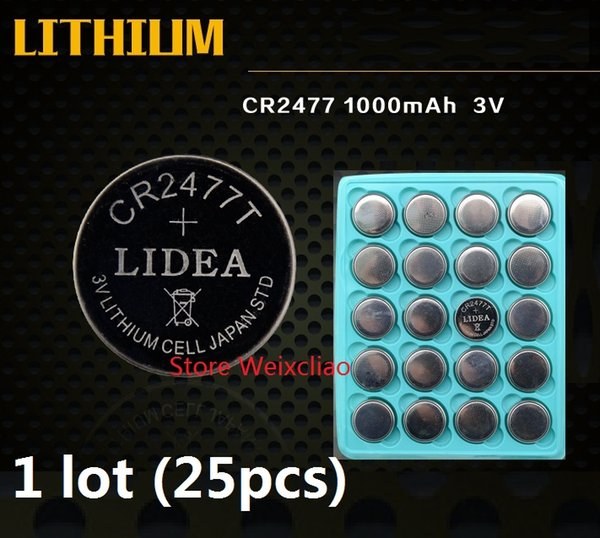 25pcs 1 lot CR2477 3V lithium li ion button cell battery li-ion CR 2477 3 Volt coin batteries tray package Free Shipping