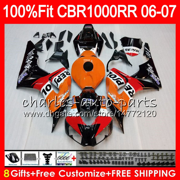 Injection Body For HONDA CBR 1000RR CBR1000 RR 06 07 Bodywork 78HM1 CBR1000RR 06 07 CBR 1000 RR 2006 2007 Fairing kit 100% Fit Repsol orange