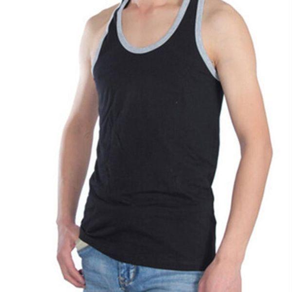 Vente en gros-Hommes 2017 D'été Gilet Fitness Mince Confortable Homme Tops Coton Robe T-shirt Maillot de Bain Survêtement Plus La Taille L-3XL X20