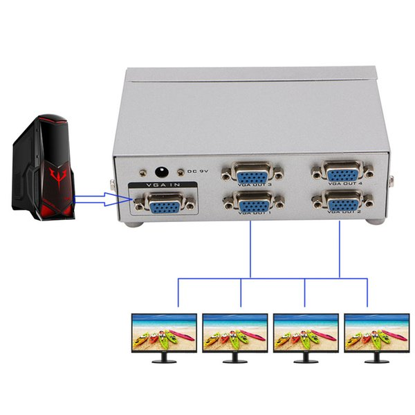 Wholesale- 4 Port SVGA VGA Splitter 250MHz 1 PC to 4 LCD CRT Video Monitor For PC Projector