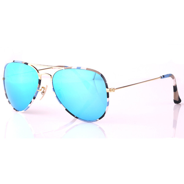 Top quality Spring Summer Sunglasses Fall Winter Style Men Women Pilot Sunglasses Camouflage Cloth Frame UV400 protection Glass lens