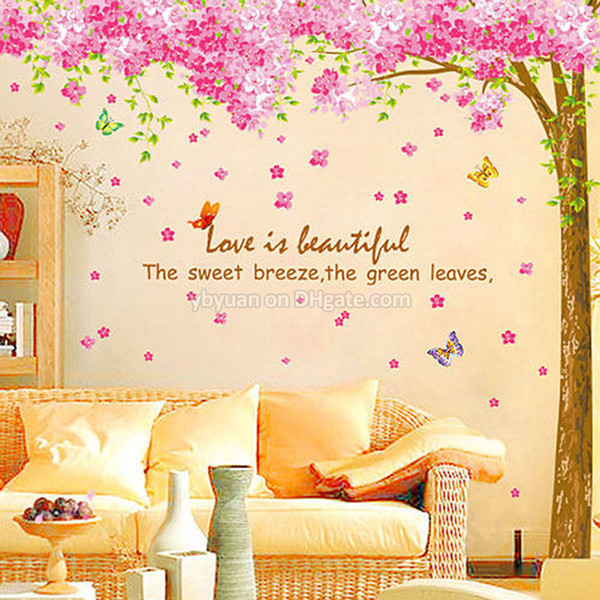 XL Cherry Blossom Tree Wall Sticker Removable Sakura Flower Decals Decorative Living Room TV Sofa Background Sticker Home Decor 2PCS/Set