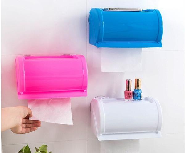 Sucker Type Waterproof Tissue Holder Plastic Toilet Paper Roll Holder For Shower Room 3 Colors Eco Friendly