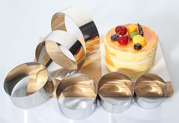 6 teile / satz Edelstahl Kuchen Mousse Ring 3D Runde Kuchenform Kuchen Dekorieren Backenwerkzeuge
