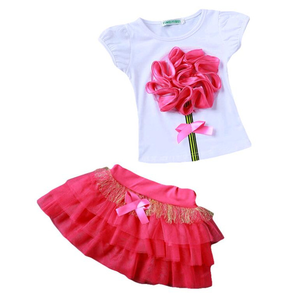 New Summer Kids Clothing Sets 2pcs Flower T Shirt + tutu Mesh Skirt Suits for Girl Red Pink Green
