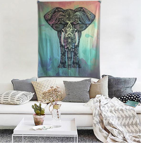 High Qulity 230D Knitted Polyester 130x150cm Splendid Ethnic Wall Decor Printing Bohemian Mandala Indian Elephant Tapestry