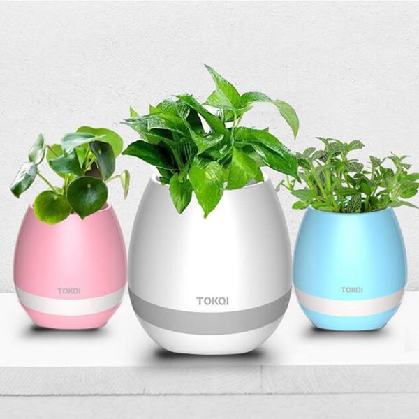 TOKQI Bluetooth Smart Pots de fleurs de musique Intelligent Aucune plante Touch Play Flowerpot Lumière colorée Longtemps jouer Bass Speaker (NO logo)
