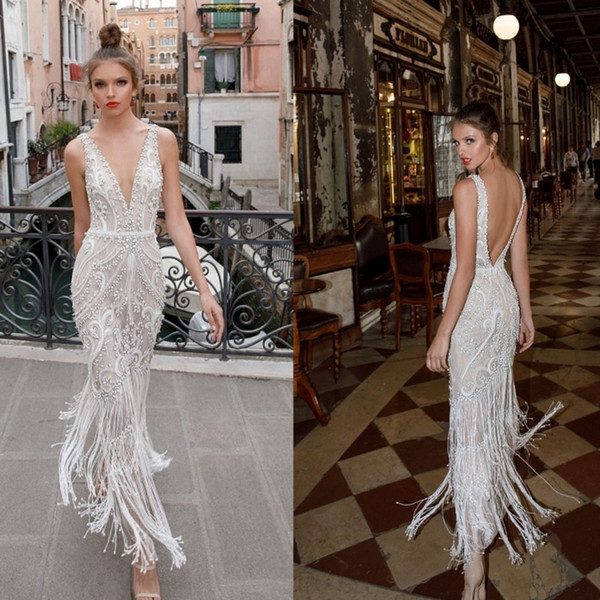 Berta 2019 Beach Wedding Dresses Beads Lace Appliqued Backless Plunging Neckline Vintage Bridal Gowns Ankle Length Wedding Dress