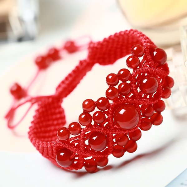 Japanese and Korean Temperament Sweet Red Crystal Hand-woven Red String Bracelet Holiday Gift Accessories
