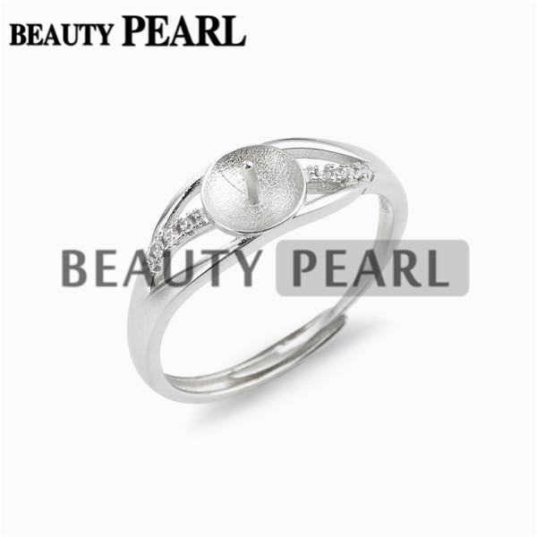 Jewellery Findings Ring Mounting 925 Sterling Silver Ring Blanks with Pin Cup for Attaching Pearls 5 Pieces