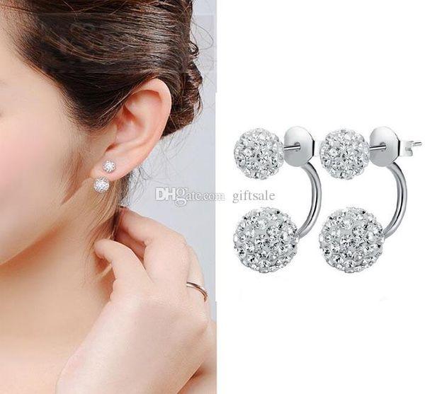 High quality 925 Sterling Silver Double sided Shambala Ball Stud Earrings Diamond Crystal disco beads Earings fine Jewelry for women girls