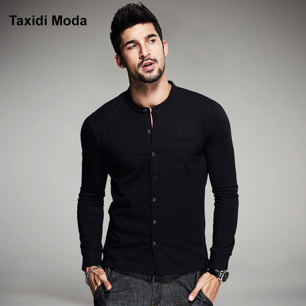Wholesale- 2016 Autumn Mens Fashion T Shirts Button Black Brand Clothing Long Sleeve Man's Collar Cardigan T-Shirts Tops Tees Plus Size