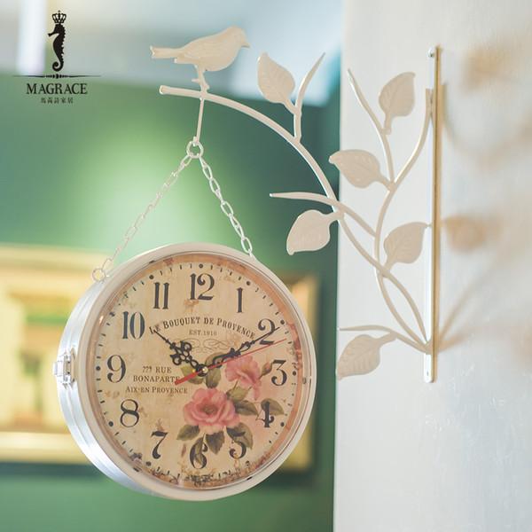 Al por mayor-Breve lado moderno colgante lateral doble reloj de pared Bird Natural Bracket Reloj de flor Cara Retro Vintage Reloj relogio parede Decoración
