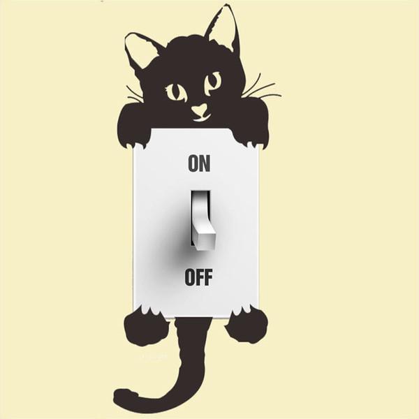 1 ADET Yaratıcı Siyah Kedi Işık Anahtarı Duvar Sticker Sanat Tasarım Komik Ev Dekor