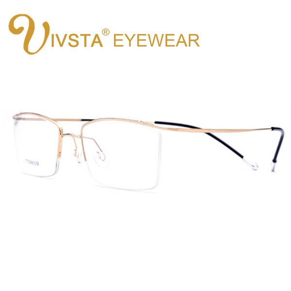 IVSTA Titanium Glasses Men Memory Eyeglasses Optical Frame Spectacle Eyewear Women Prescription Reading Myopia Semi-Rim Brand