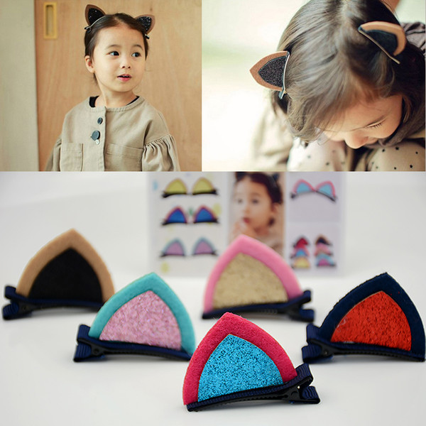 Children Cat Ear Hair clip Kids stereo Barrettes Girl bobby pin Fringe Hair pin Accessories 5 Color headwear Edge clamp Headdress
