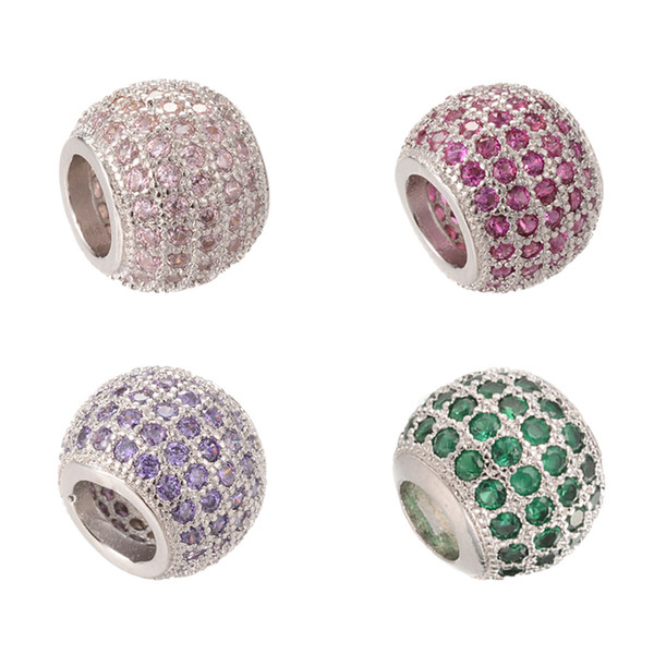 Charms Silver Top Quality Factory Outlet Zircon Cubic Beads Micro Pave Beads with Clear CZ Cubic Zirconia ICPD002