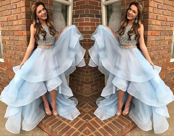 Light Blue High Low Prom Dresses Cry Beaded Sleeveless Tired Ruffles Party Dress For Gowns Two Piece Sash Ball Gown
