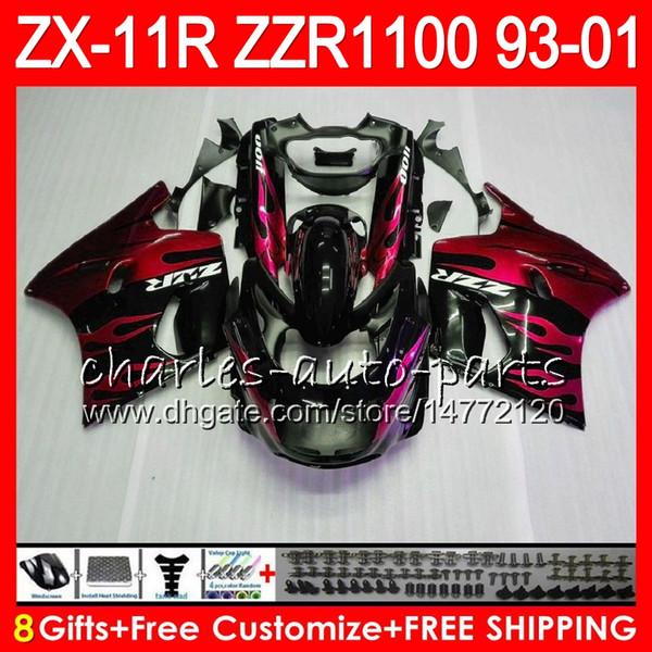 8Regalos para KAWASAKI NINJA ZX11 ZX11R 93 01 98 99 00 01 ZZR 1100 22NO84 ZZR1100 ZX-11R llamas rojas ZX-11 1993 1998 1999 2000 2001 Kit de carenado