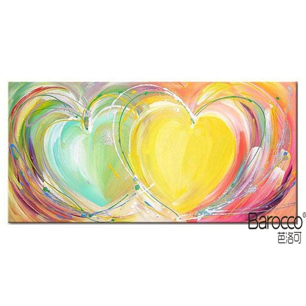 Modern Abstract Colorful Heart 100% Hand Painted Oil Painting on thick Canvas Fashion Home Decoration Wall Art Paintings