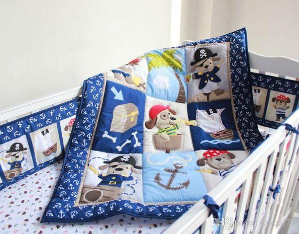 7 pcs baby bedding set baby boy crib bedding set cartoon animal baby crib set Quilt Bumper Sheet Skirt
