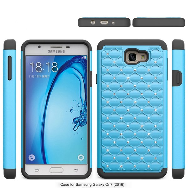 For Samsung galaxy J5 Prime on5 2016 bling diamond Starry Rubber PC + Silicone Hybrid armor rhinestone cover