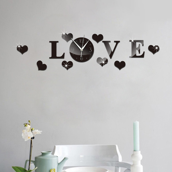 top popular Wholesale- Wall clock decor DIY Silver Acrylic Mirror Wall Sticker LOVE Clock Decoration 2019