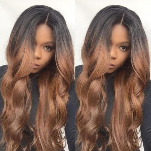 Full Lace Human Hair Wig Ombre Two Tone Wavy Pre-plucked Hairline 360 Lace Wig Brazilian Virgin Hair With Baby Hair Lace Front Wig