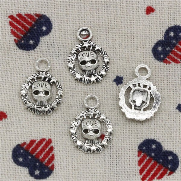 Wholesale- 200pcs Charms circle skull skeleton love 15mm Tibetan Silver Pendants For DIY Necklace & Bracelets Jewelry Accessories
