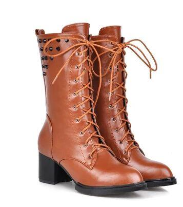 Wholesale New Arrival Hot Sale Specials Super Fashion Influx Martin Elegant Leather Knight Lace Up Rivets Pointed Tide Roman Boots EU34-43