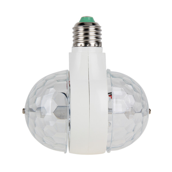 Venda por atacado - E27 / B22 Cabeça Dupla Girando Lâmpada 6W RGB Lâmpada LED Lâmpada de Palco Luz de Discoteca DJ Luz RGB LED Bulbo AC 85-265V