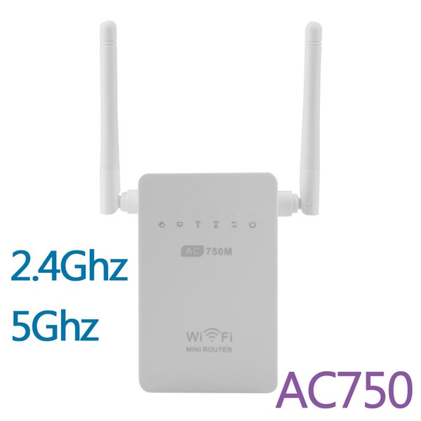 Newest 750M Wireless-AC Router AC750 Dual Band 2.4GHz/5GHz Wifi Repeater Extender Booster 802.11AC WPS AP Antenna