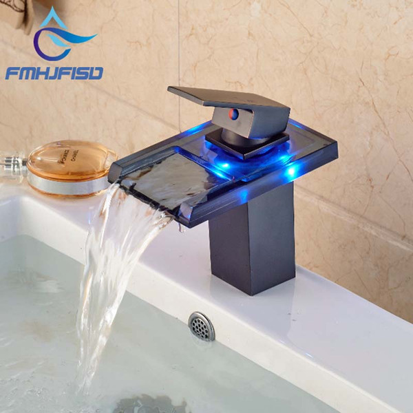 best selling Wholesale- Free Shipping Wholesale And Retail 3 LED Color Changing Waterfall Bathroom Faucet Vanity Sink Mixer Tap Oil Rubbed Bronze