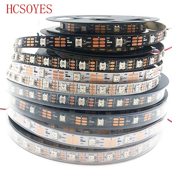 Toptan-5m / rulo DC5V ws2812b Dahili-ic2811 ic ayrı ayrı adreslenebilir 30 / 60leds / m 5050 smd rgb şerit, 1 ic kontrol 1 led
