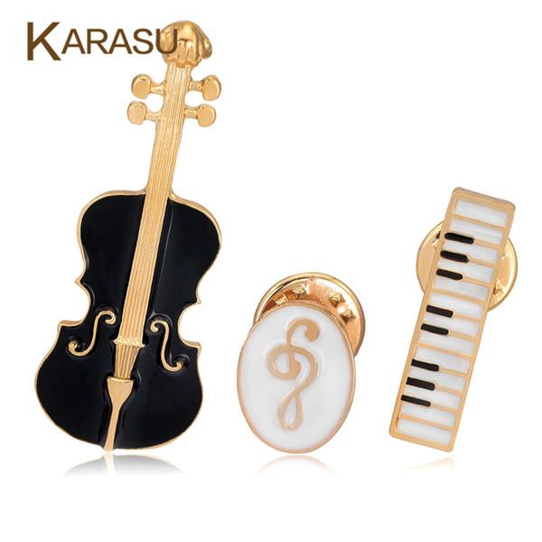 Gros- 3Pcs / Set De Luxe Broches Plaquées En Or Pour Les Femmes Noir Violon Blanc Piano Note Broche Broches Bijoux À La Mode Accessoires Cadeaux