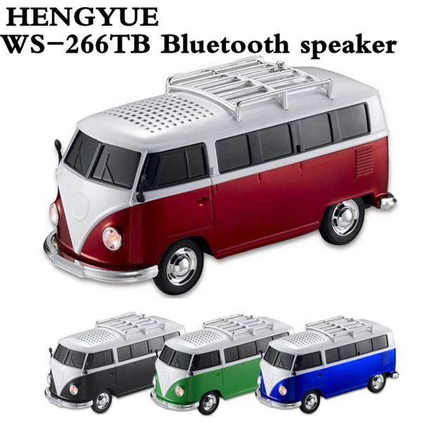50 stücke WS-266TB Bluetooth lautsprecher bunte mini lautsprecher auto form mini bus lautsprecher sound box MP3 ++ U disk + TF + Bluetooth + FM funktion