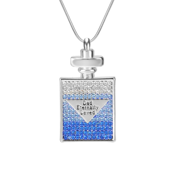 "Urn Necklace ""DAD Eternally Loved"" Bottle Engraved Crystal Memorial Keepsake Pendant Cremation Jewelry with Gift Bag and Funnel"