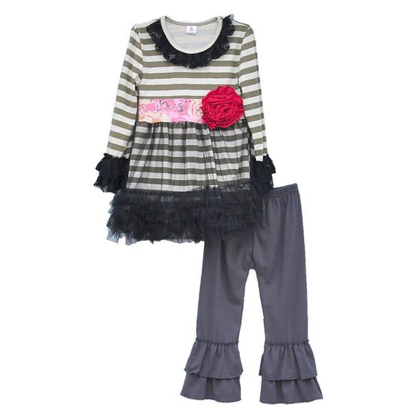 Gros- Persnickety Remake Printemps Filles Vêtements Rayé Tunique Robes Fleur Deco Enfants Tenues Ruffle Pantalon Enfants Vêtements Ensembles F011