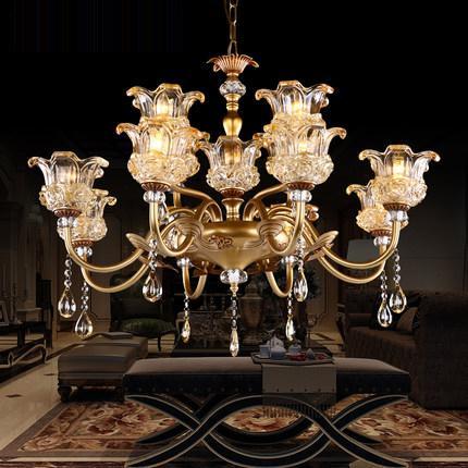 Chandeliers lightings led European American luxury royal retro led chandelier led pendant lights for large hotel villa hall decoration