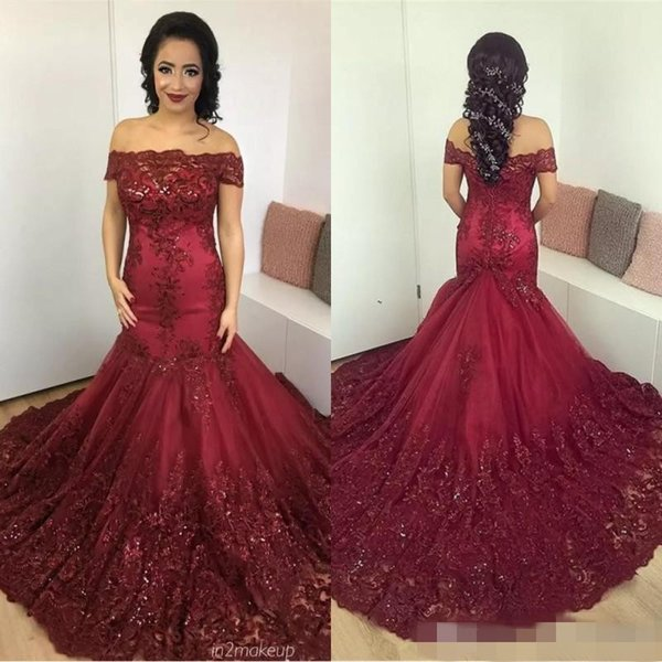 Gorgeous Burgundy Mermaid Evening Dresses 2019 Arabic African Lace Prom Dress Sequined Appliques Corset Back Court Train Evening Gowns Dresses Long