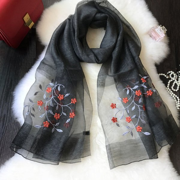 2019 women's fashion cotton scarf shawl collar girl pop wind embroidery may the flowers free shipping in China
